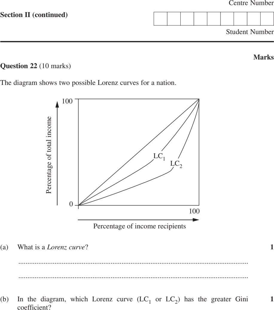 Centre Number Section II (continued) Student Number Marks Question 22 (10 marks) The diagram shows
