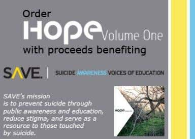 'Hope, Volume One' is a compilation CD with proceeds benefiting Suicide Awareness Voices of Education