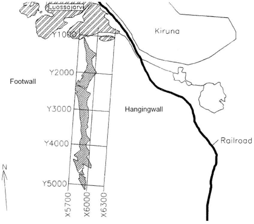 Today, the entire orebody is mined using sublevel caving. Figure 3.1 Horizontal map of the Kiirunavaara