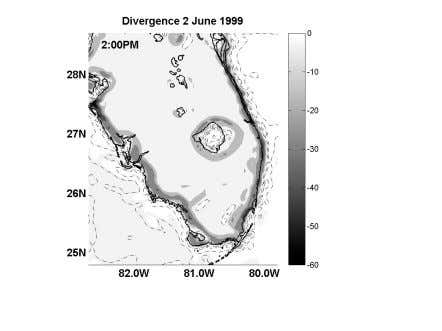 and land-lake breeze circulations in South Florida clearly. Figure 1. Idealized MM5 simulation of surface divergence