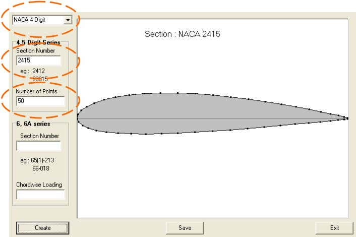 Type of Airfoil Section Number Number of Points Figure 3.9 – Coordinate genera tion of NACA