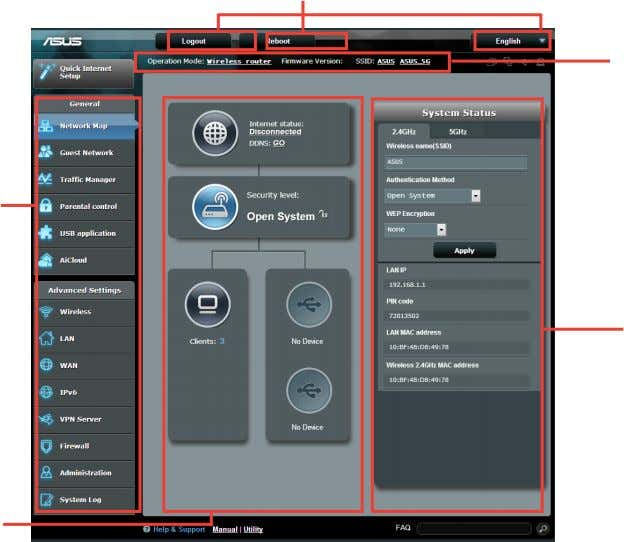 settings of your ASUS Wireless Router. Top command buttons Information QIS banner Navigation panel right column