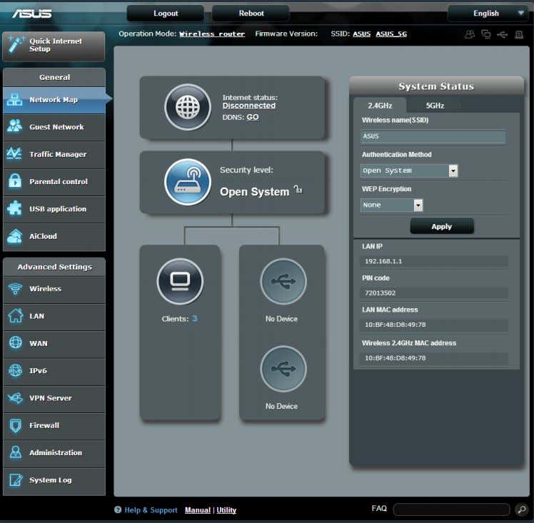 allows you to configure your network's security settings, manage your network clients, and monitor your USB