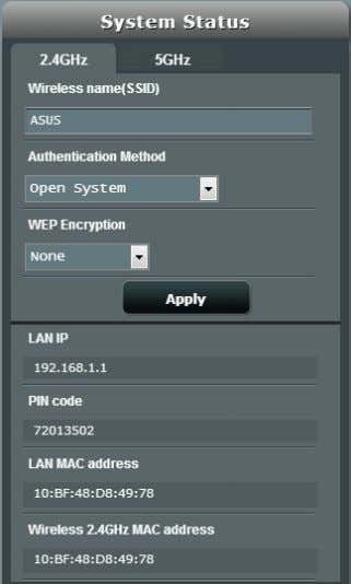 settings for 2.4GHz and 5GHz bands. 2.4GHz security settings 5GHz security settings 3 . On the