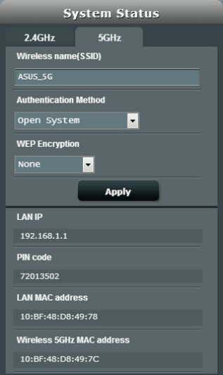 5GHz bands. 2.4GHz security settings 5GHz security settings 3 . On the Wireless name (SSID) field,
