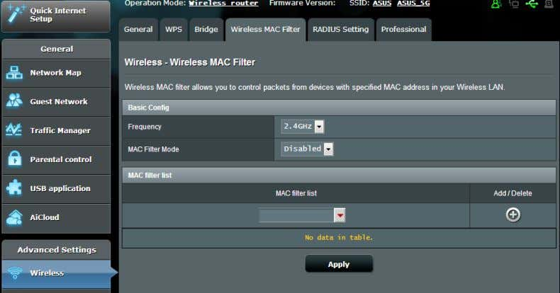 MAC (Media Access Control) address on your wireless network. To set up the Wireless MAC filter: