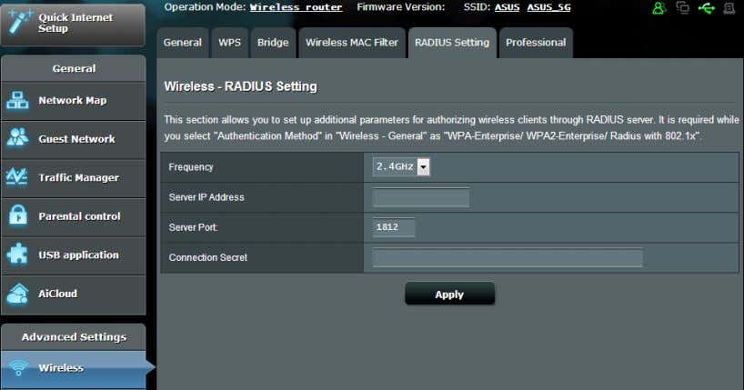 or Radius with 802.1x as your Authentication Mode. To set up wireless RADIUS settings: 1. Ensure