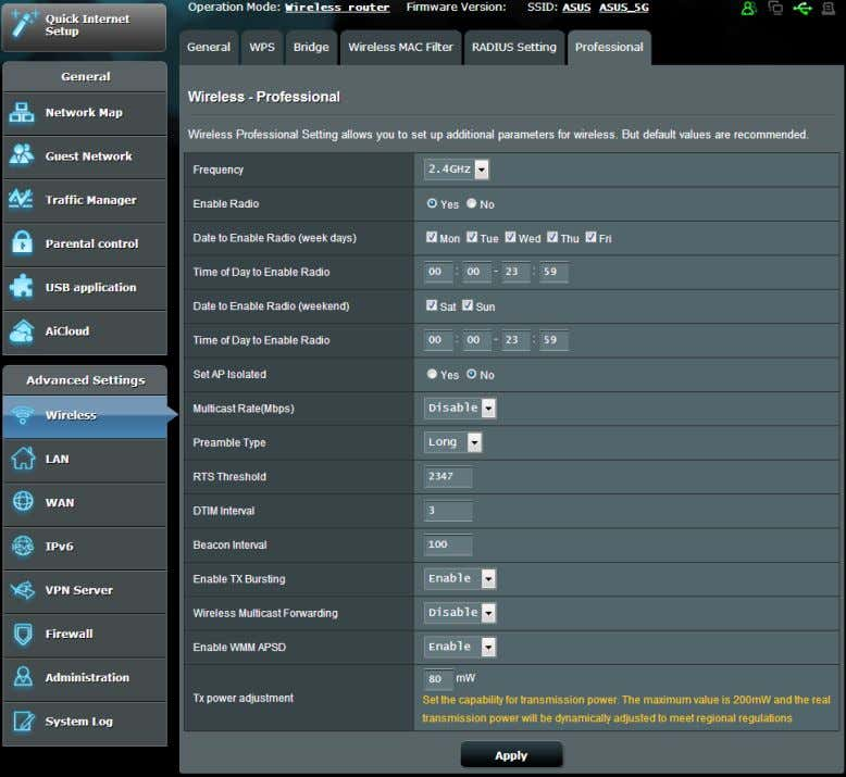 We recommend that you use the default values on this page. In the Professional Settings screen,
