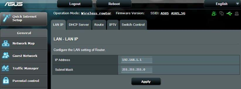 IP settings of your wireless router. NOTE: Any changes to the LAN IP address will be