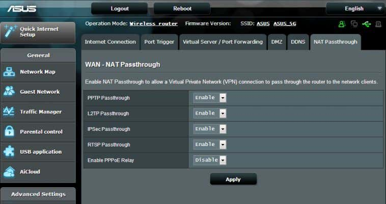 Passthrough settings, go to the Advanced Settings > WAN > NAT Passthrough tab. When done, click