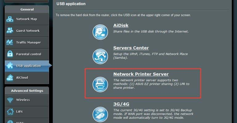 router's USB port and set up the print server. This allows your network clients to print
