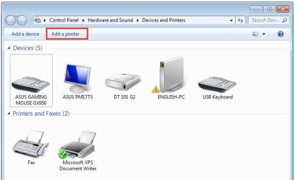 Printers > Add a printer to run the Add Printer Wizard . 2. Select Add a
