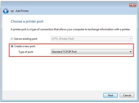 Type of Port to Standard TCP/IP Port . Click New Port . 4. In the Hostname