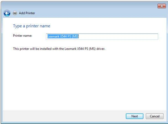 9. Click Next to accept the default name for the printer. 10. Click Finish to complete