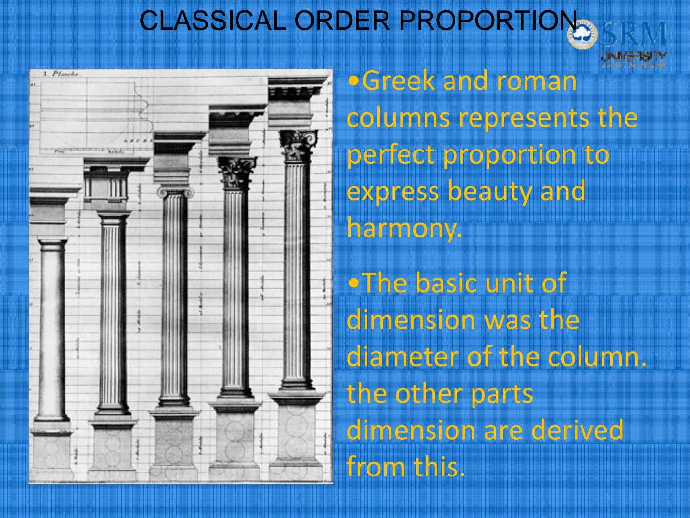CLASSICALCLASSICAL ORDERORDER PROPORTIONPROPORTION • Greek an d roman columns represents the per fect propor tion