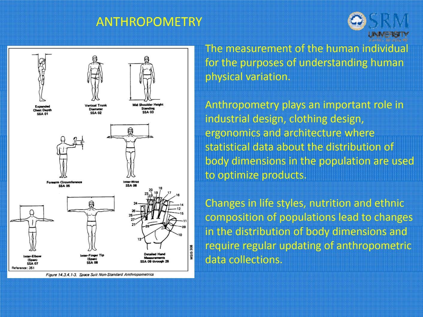 ANTHROPOMETRY Th e measurement o f th e h uman in divid ua l for