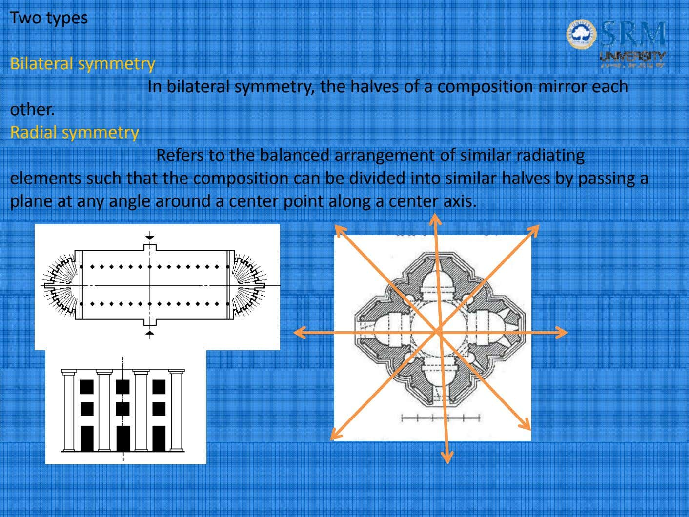 Two types Bilateral symmetry In bilateral symmetry, the halves of a composition mirror each other.