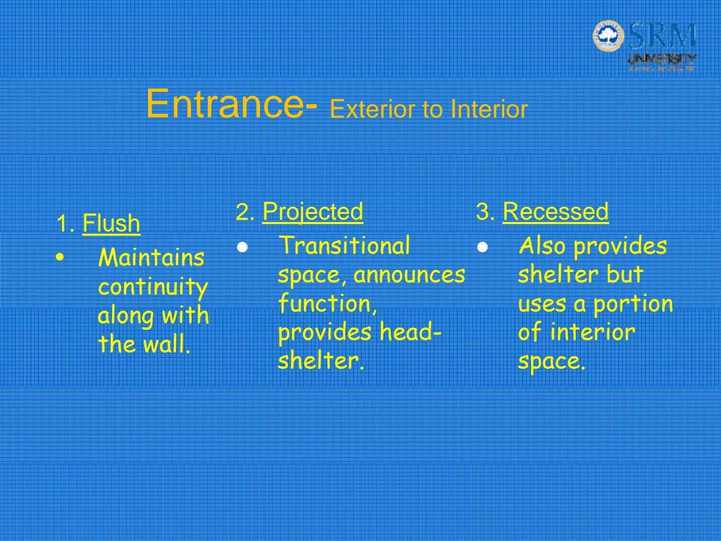 Entrance- Exterior to Interior 1. Flush Maintains continuity along with the wall. 2. Projected Transitional