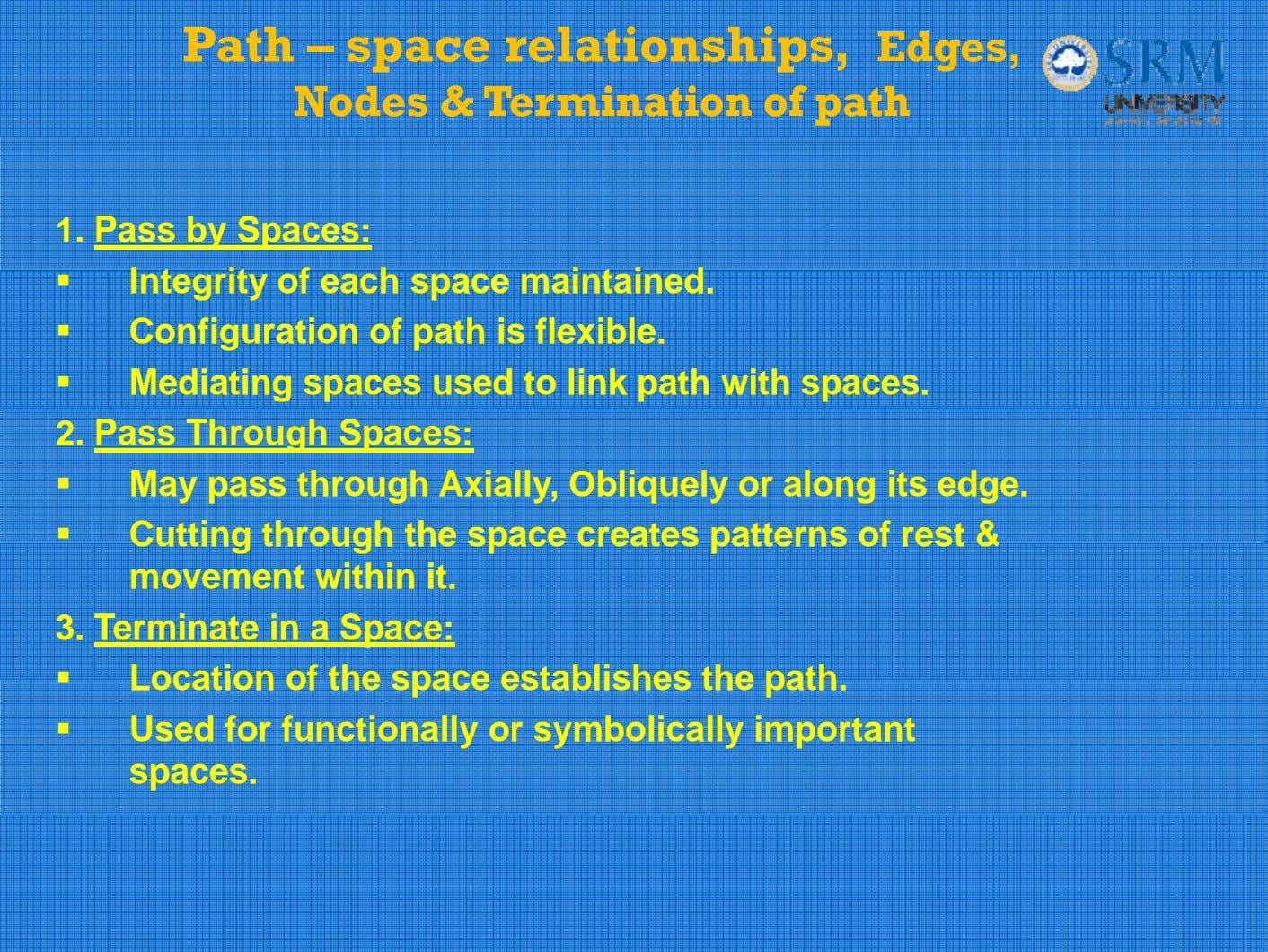 Path – space relationships, Edges, Nodes & Termination of path 1. Pass by Spaces: Integrity