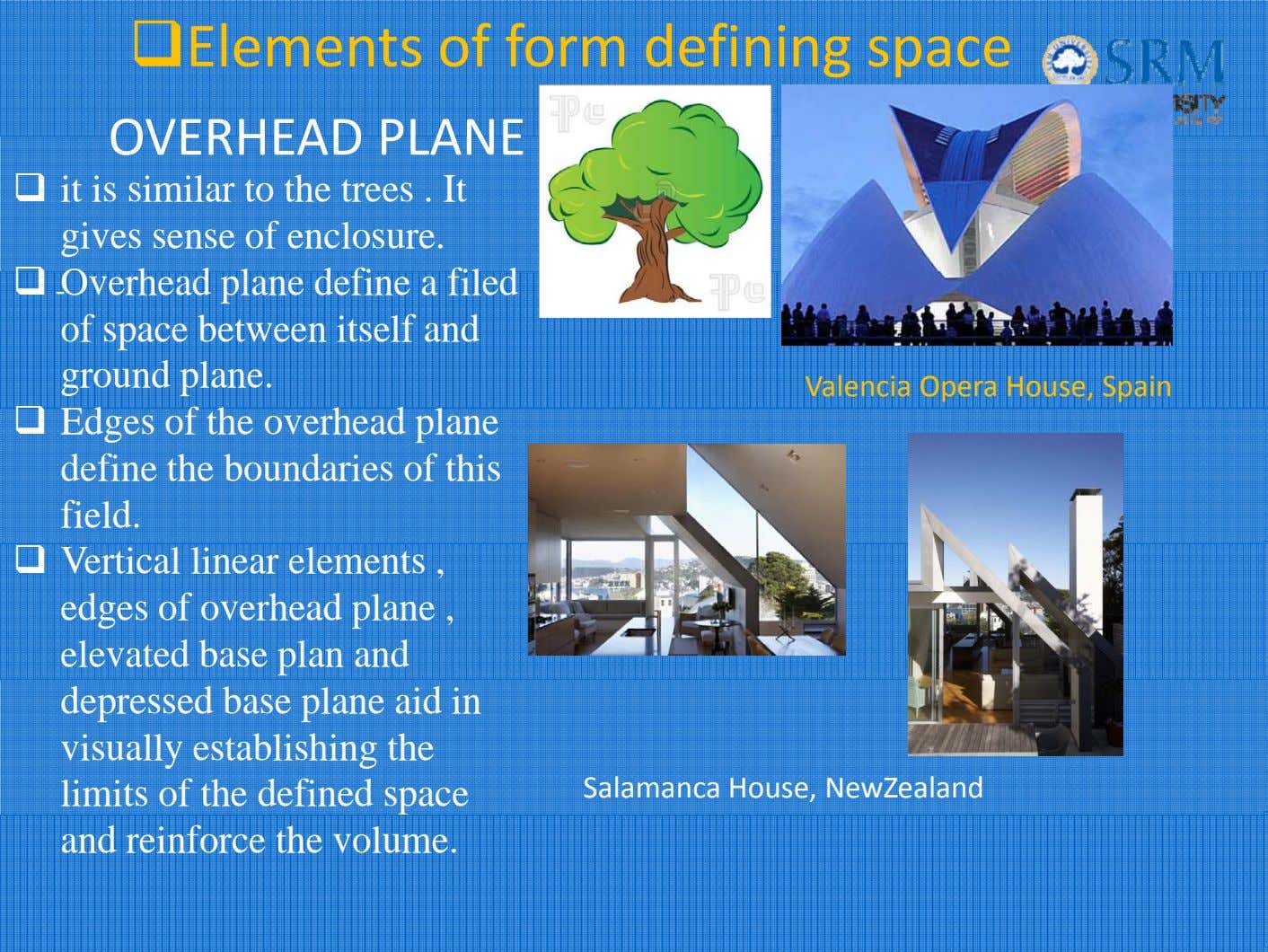 Elements of form defining space OVERHEAD PLANE it is similar to the trees . It