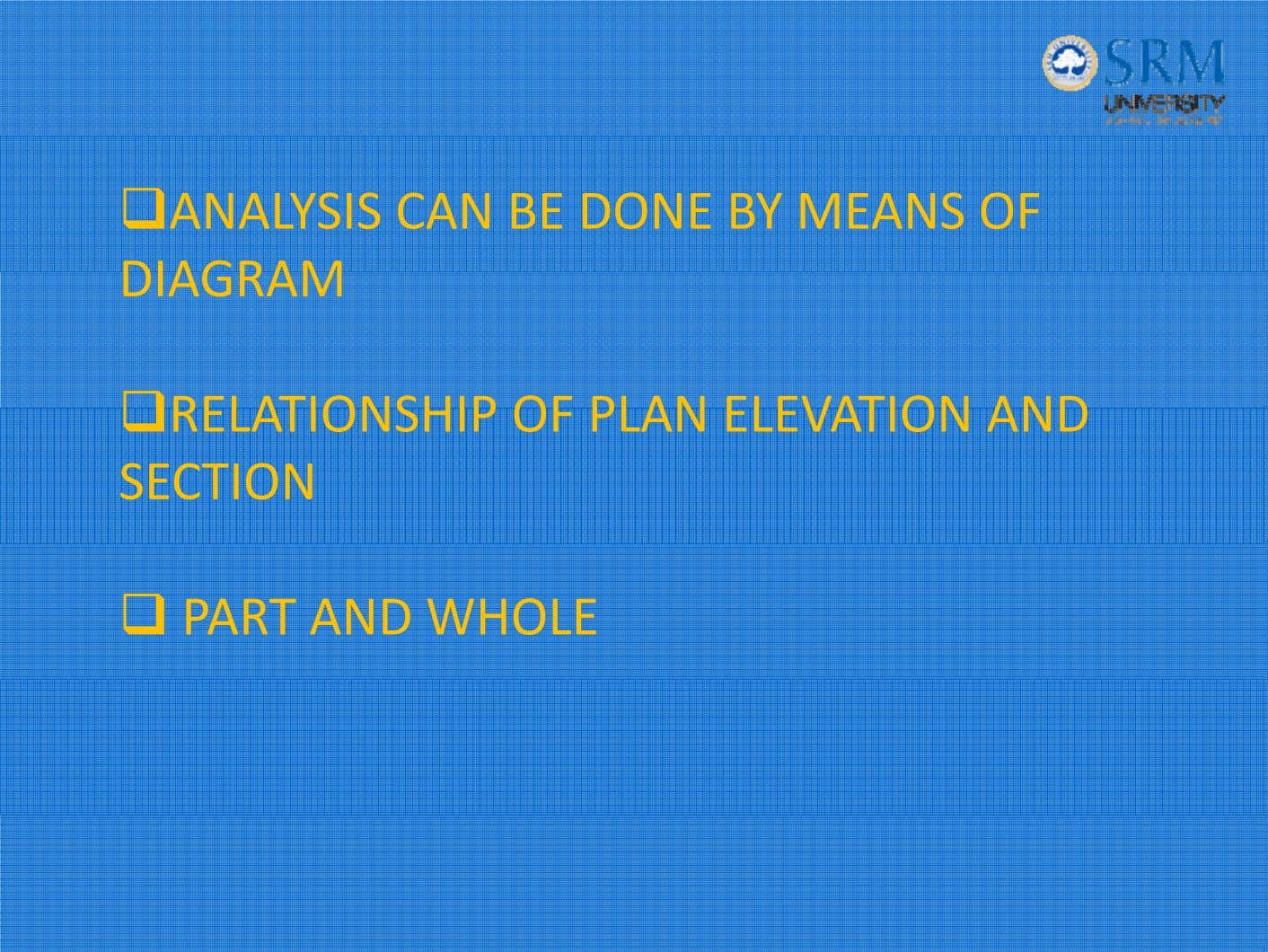 ANALYSIS CAN BE DONE BY MEANS OF DIAGRAM RELATIONSHIP OF PLAN ELEVATION AND SECTION PART