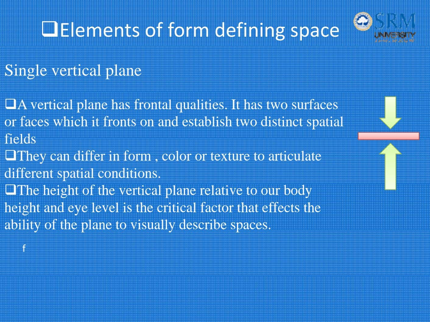 Elements of form defining space Single vertical plane A vertical plane has frontal qualities. It