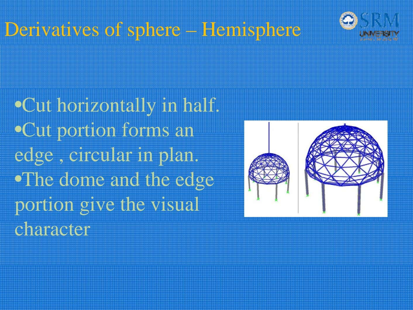 Derivatives of sphere – Hemisphere •Cut horizontally in half. •Cut portion forms an edge ,