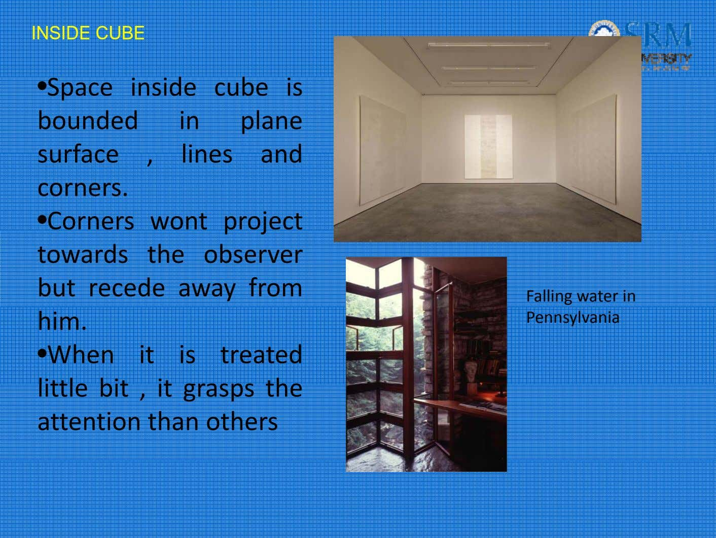 INSIDE CUBE •Space insi de cub e is bounded in plane surface , lines and