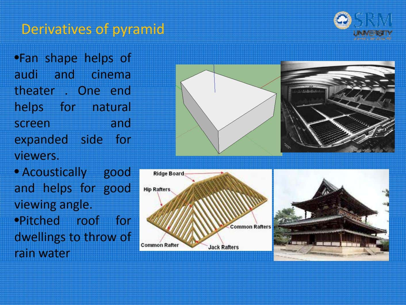 Derivatives of pyramid • Fan shape helps of audi and cinema th eater . O