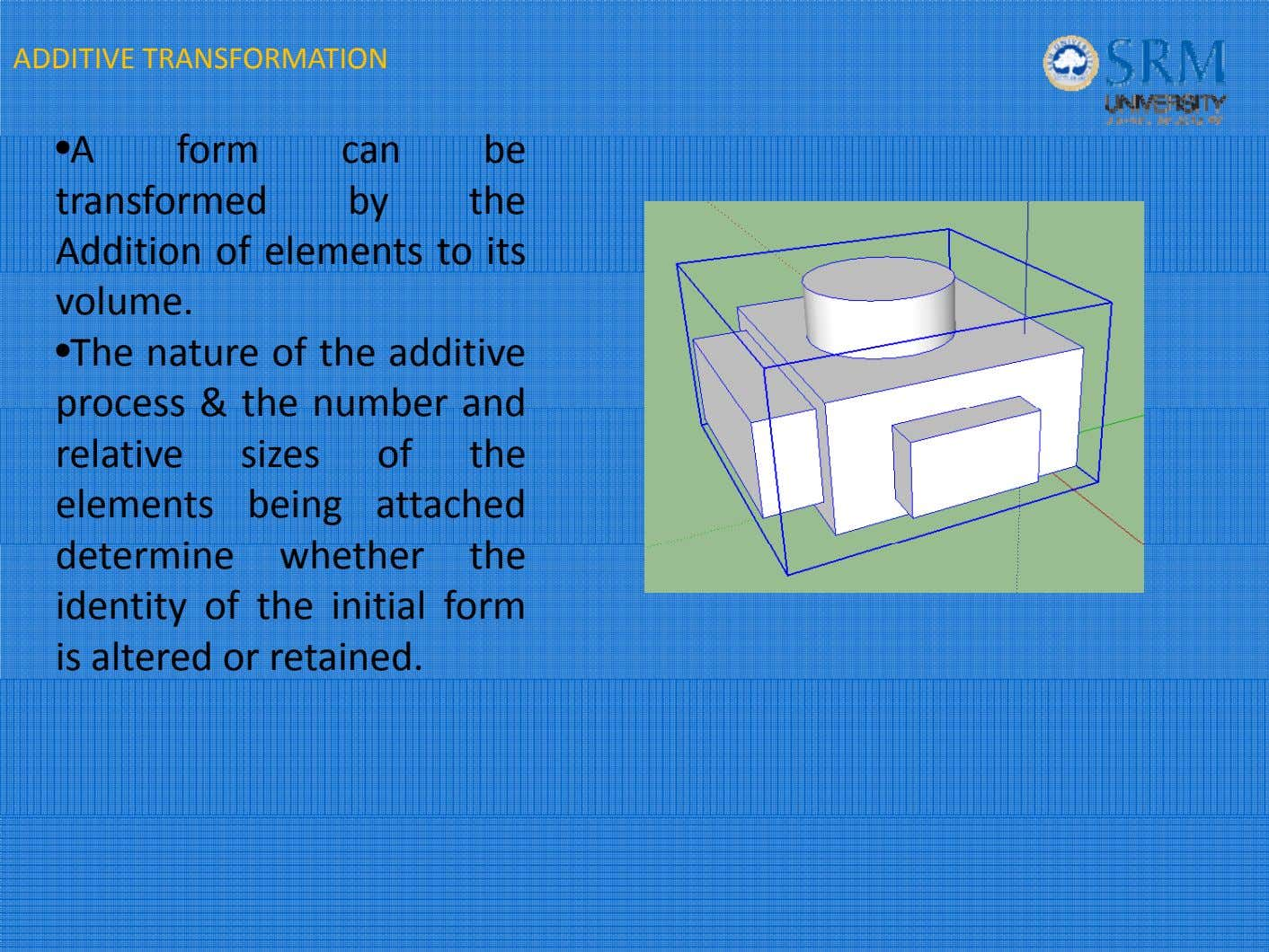 ADDITIVE TRANSFORMATION • A form can b e transformed by the Addition o f elements