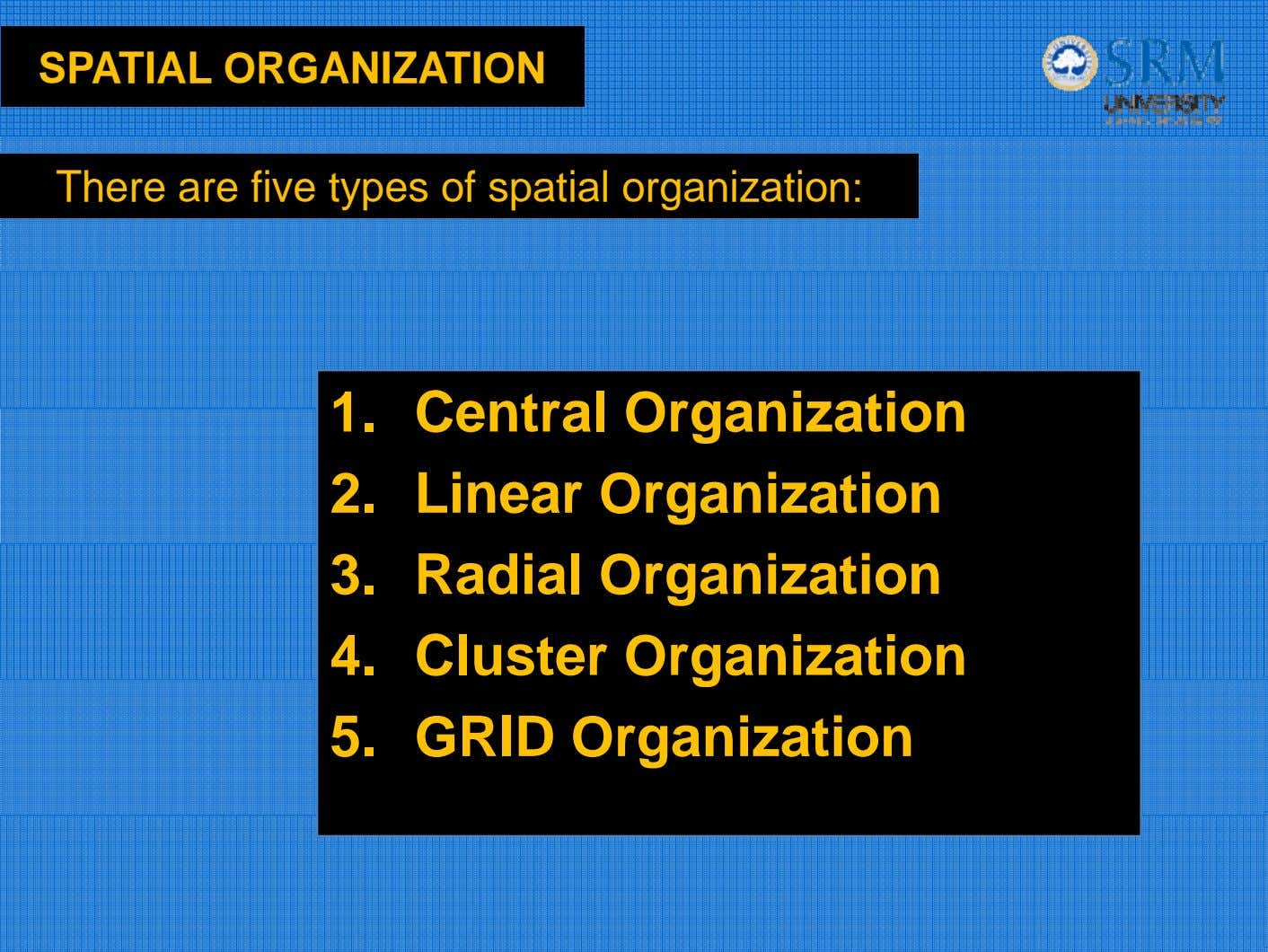 SPATIAL ORGANIZATION There are five types of spatial organization: 1. Central Organization 2. Linear Organization