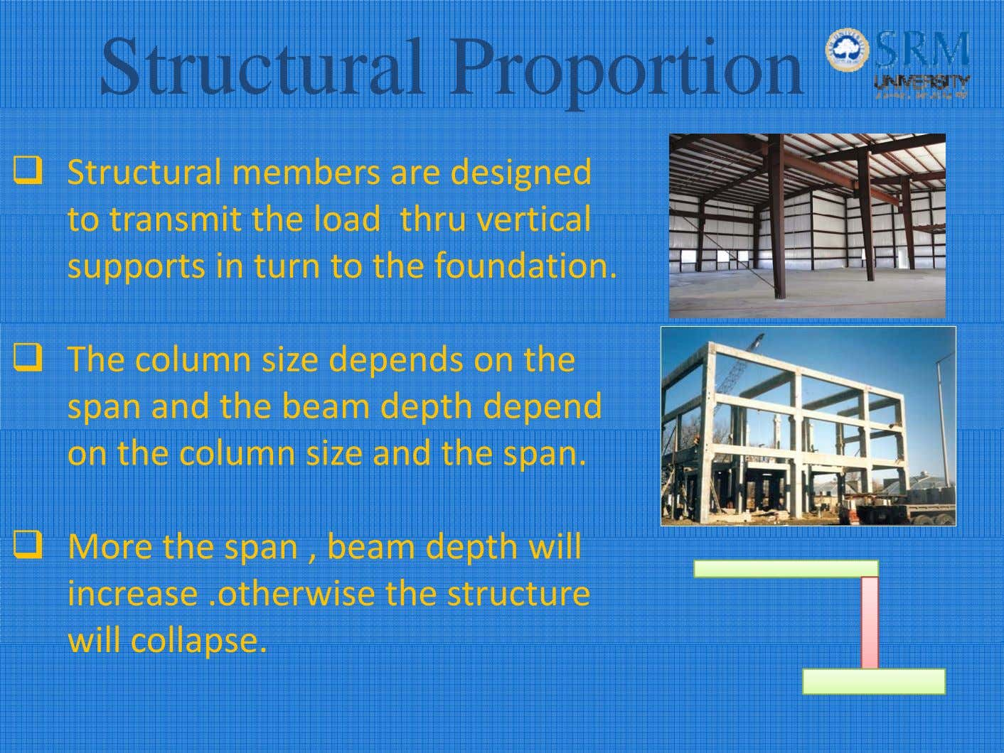Structural Proportion Structural members are designed to transmit the load thru vertical supports in turn