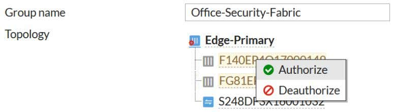 both Accounting and Marketing to join the Security Fabric. Installing Sales 1. To edit the interface