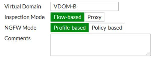 started 41 5. Create a second VDOM, called VDOM-B . Configuring a management interface By default,