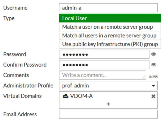 root VDOM from the Virtual Domains list and add VDOM-A . 4. Repeat the above steps