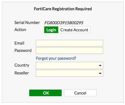 have a Fortinet Support account, set Action to Login . If you need to create an