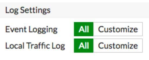 , set both Event Logging and Local Traffic Log to All . Enabling logging Because logging