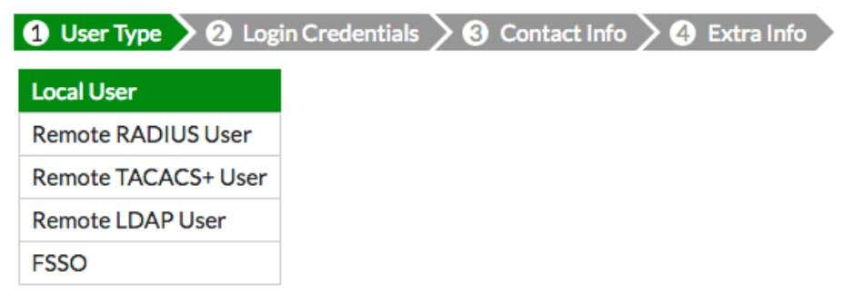 ). 2. In the User Type section, select Local User . 3. In the Login Credentials
