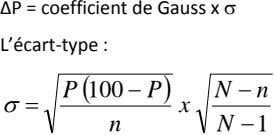 ∆P = coefficient de Gauss x  L'écart‐type : P  100  P 