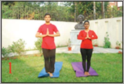 Fig. 1 (the prayer) Namaskaaraasana Stand erect facing east, feet together. The feet, buttocks, back,