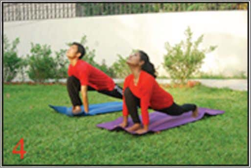 position as described here. Exhale while bending forward. Fig. 4 (the horse) Ashwa Sanchaalanaasana Retaining the