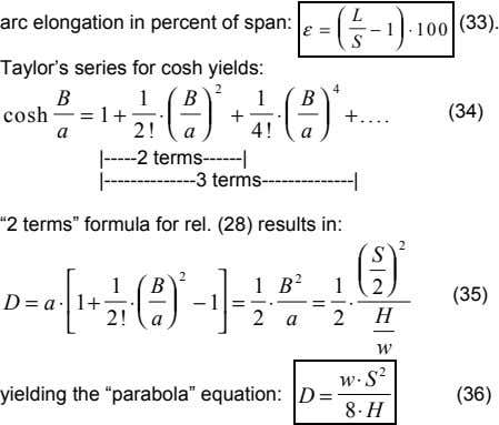 arc elongation in percent of span: (33). ε =   L − 1 ⋅