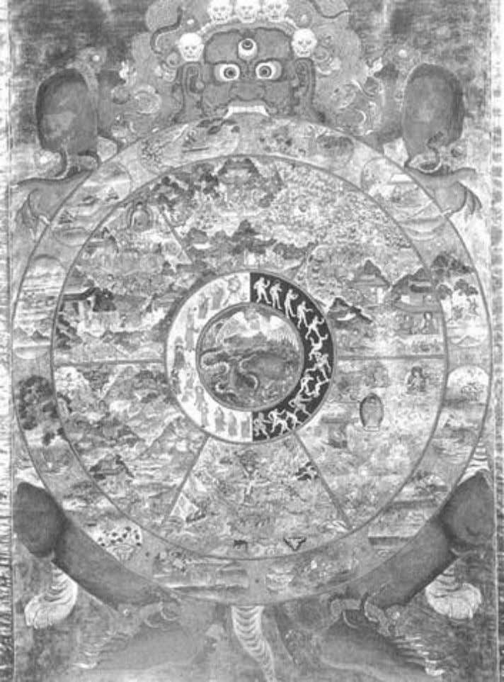 Figure 5. The Tibetan Wheel of Life , held in the grip of the Lord of
