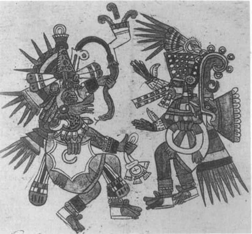 Figure 1. Quetzalcoatl and Tezcatlipoca. The legends of ancient Mexico assert that the worlds of matter