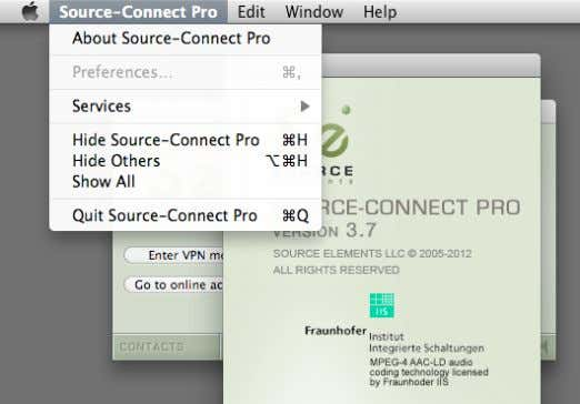 ' About Source-Connect Pro ': Opening the About Box: Source Elements © 2005-2016 Source-Connect Pro 3.9