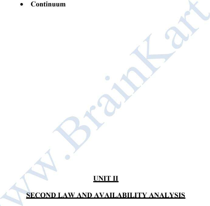  Continuum UNIT II SECOND LAW AND AVAILABILITY ANALYSIS