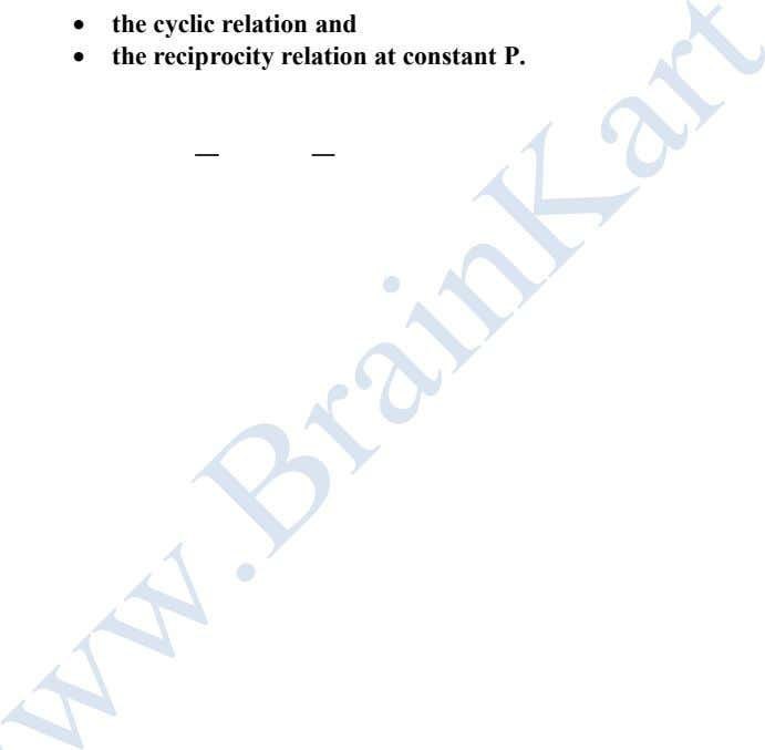  the cyclic relation and  the reciprocity relation at constant P.