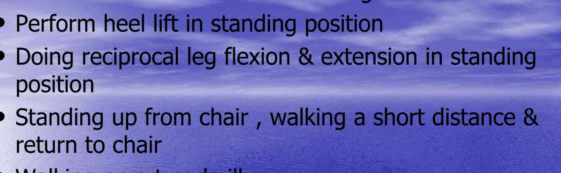 • Sit to stand from various chair heights • Perform heel lift in standing position •