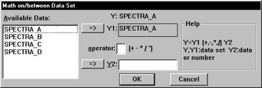 Math operations. The Math on/between Dataset Dialog Box 1) To perform a math operation, click to