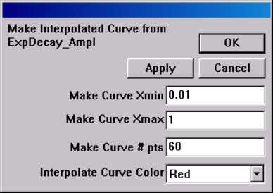 opens the Make Interpolated Curve from Dataset dialog box. Type the minimum and maximum values to